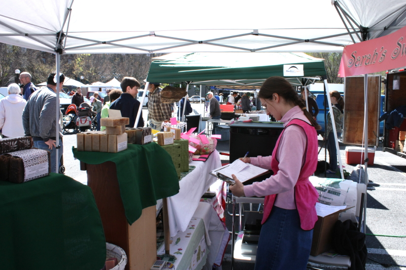 The girls' booth at market