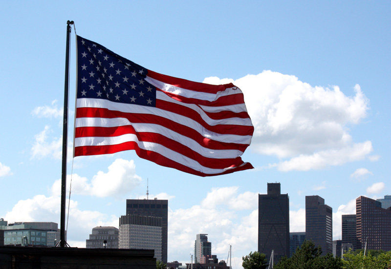 United States flag in Boston, MA, by Hannah Girotti