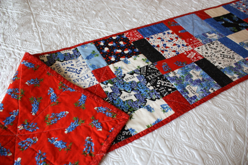 Front and back of table runner