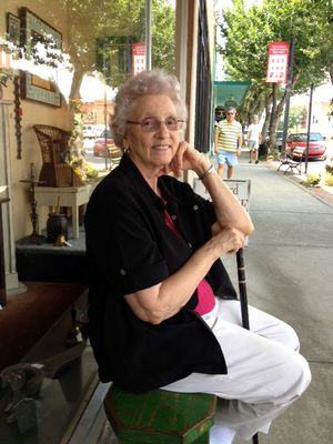 Granny waiting outside an antique shop in SC