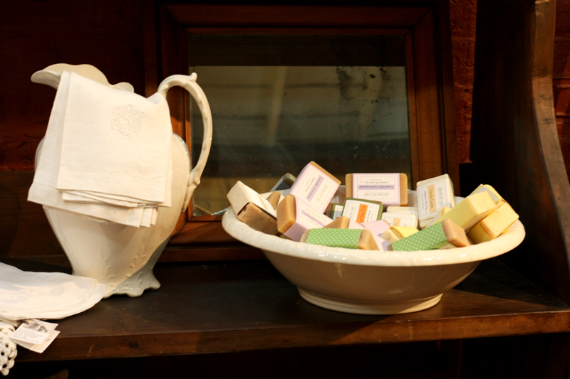 handmade soaps in a wash basin