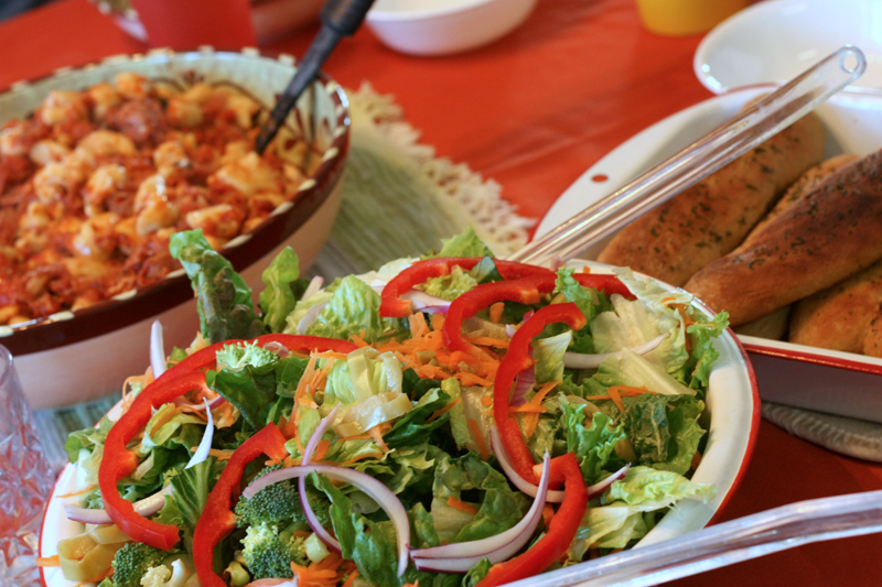 Gnocchi with Prosciutto Sauce, Salad, Breadsticks