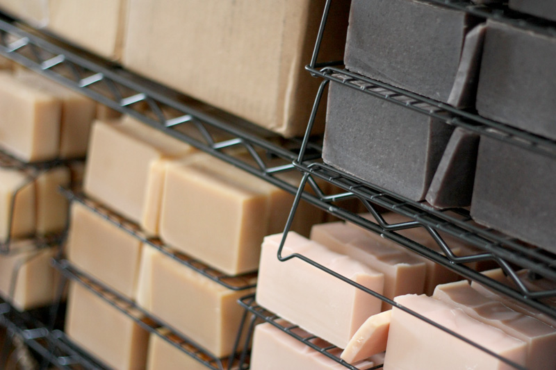 Curing soap on racks