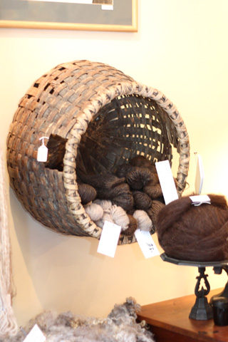 Basket on the wall at Appalachian Piecework