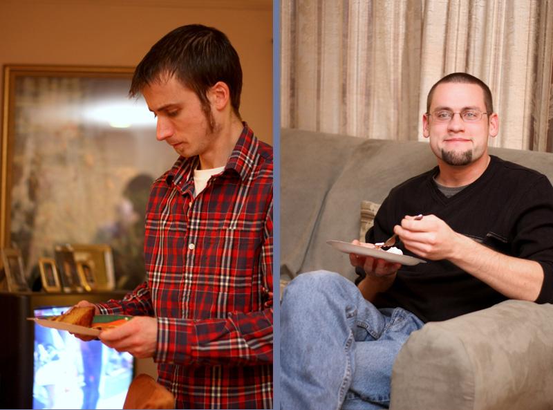 Cousin Dan and Jonathan eating pie