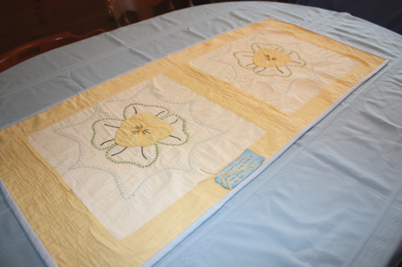 Vintage quilt made into table runner