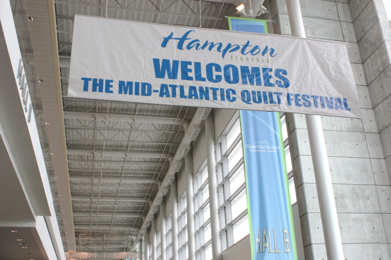 Banner at Hampton Coliseum welcoming all the quilters!