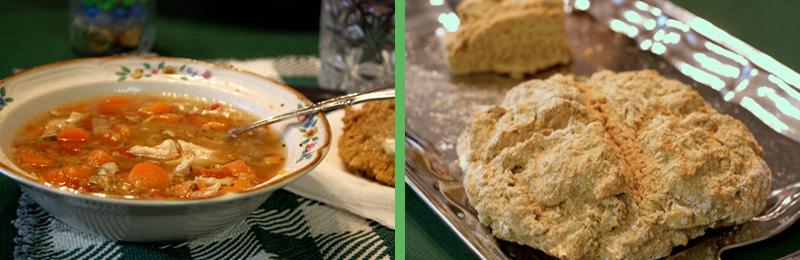 Spicy Chicken Lentil Soup, Irish Soda Bread