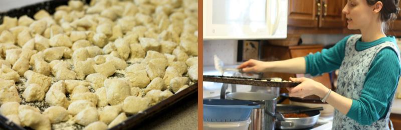 Boiling the whole-grain gnocchi