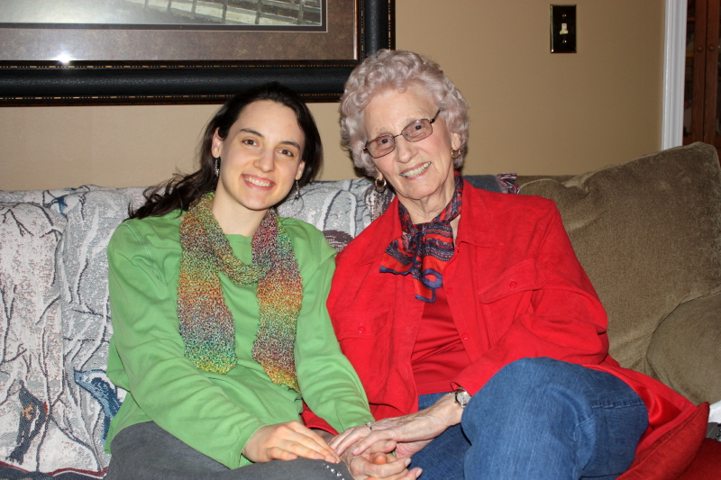 Hannah and Granny on Aunt Bet's birthday ~ 2013