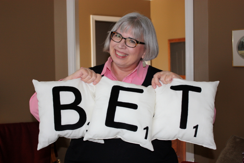 Bet loves her Scrabble pillows!