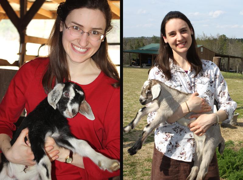 Hannah & Sarah with goats