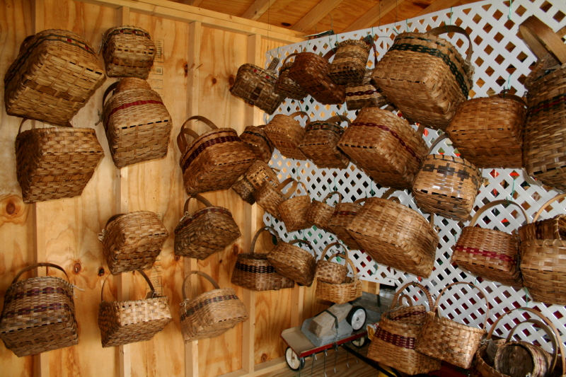 Baskets in the shed ~ what a lot of work!