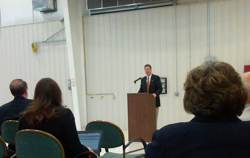 Senate candidate George Allen speaks at Dynamic Aviation