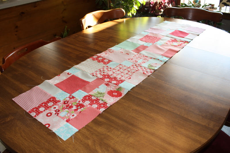 partially finished table runner