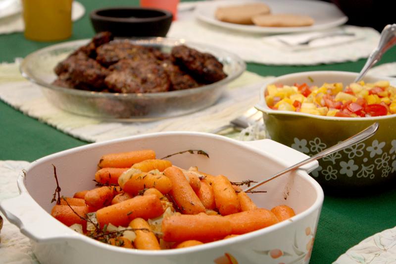 Jamaican Jerk Burgers, Grilled Carrots, Mango Salsa