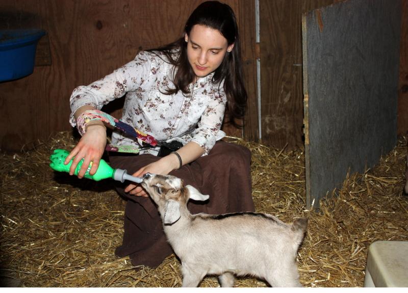 Hannah feeds a newborn