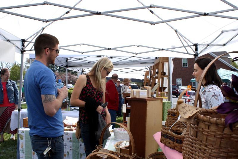 Customers at Hannah's booth