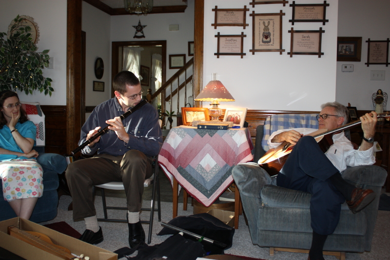 Jonathan and Tom on whistles, wooden flute, hammered dulcimer, and guitar
