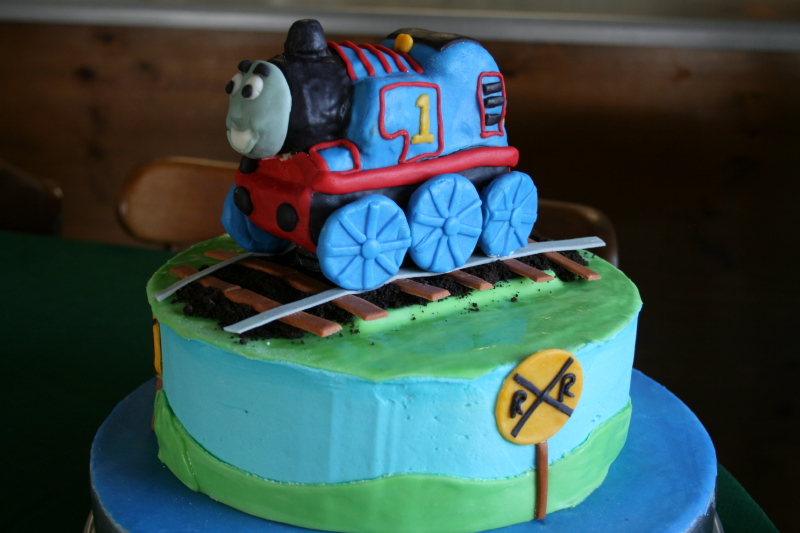 Thomas the Train cake ~ peanut butter chocolate inside ~ yummy, and our little guest loved it!