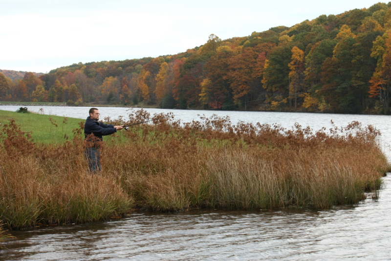 Jonathan fishing on our fall family vacation ~ Hidden Valley Lake at the crest of Brumley Mountain, near Abingdon, VA