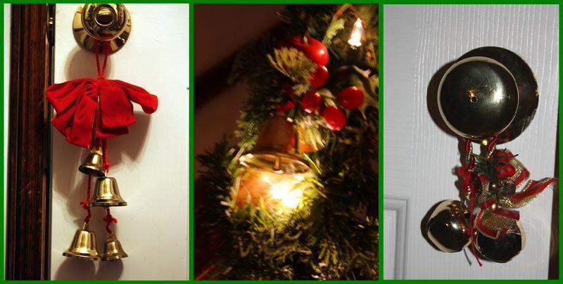Front door bells, stair railing decorations, bedroom bells