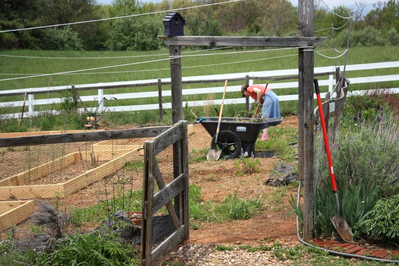 Hannah through the garden gate