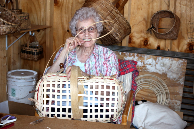 Granny making a Gathering Basket