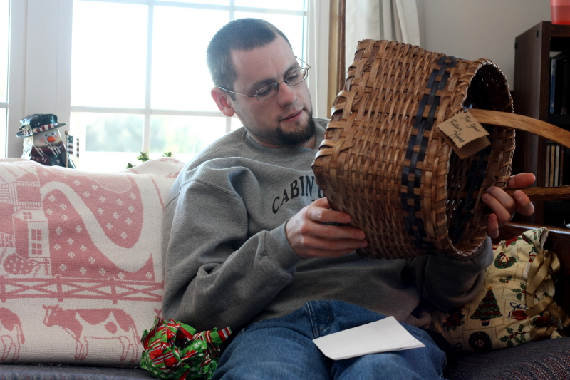 Jonathan looks for Granny's initials on his basket
