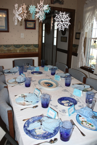 dining room set for the birthday luncheon