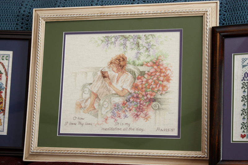 Cross-stitch framed