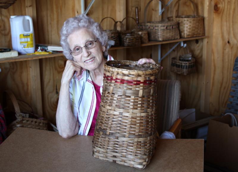 Granny with Nancie's trash basket