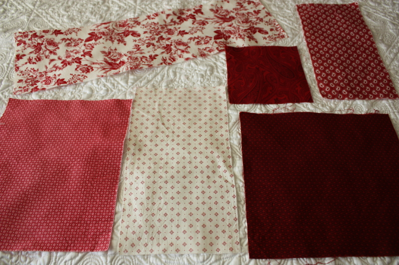 pieces of fabric for the next block