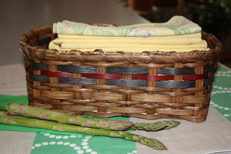 cloth napkin basket - I love asparagus fresh from the garden!!