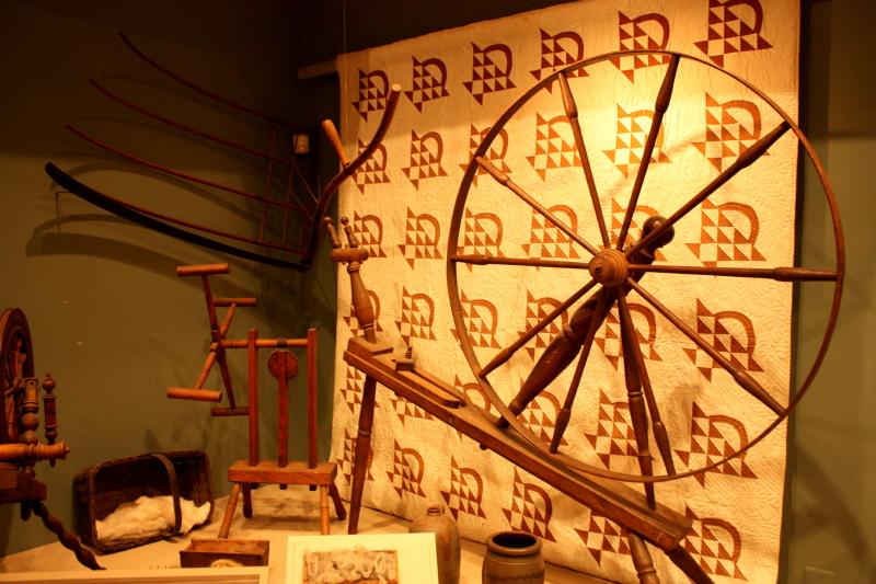 Quilt display inside Manassas Museum