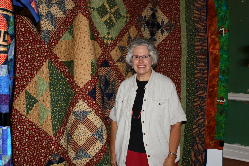 Deb viewing the quilts