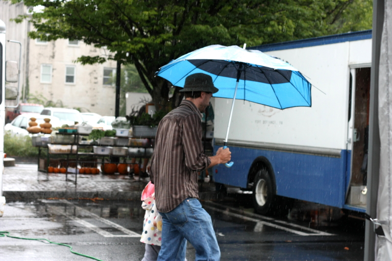 Rainy day at market