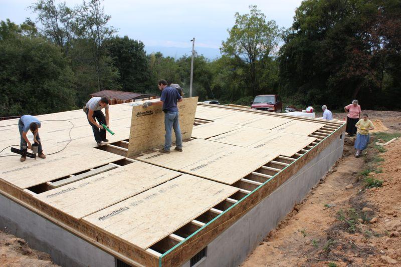 Flooring being laid