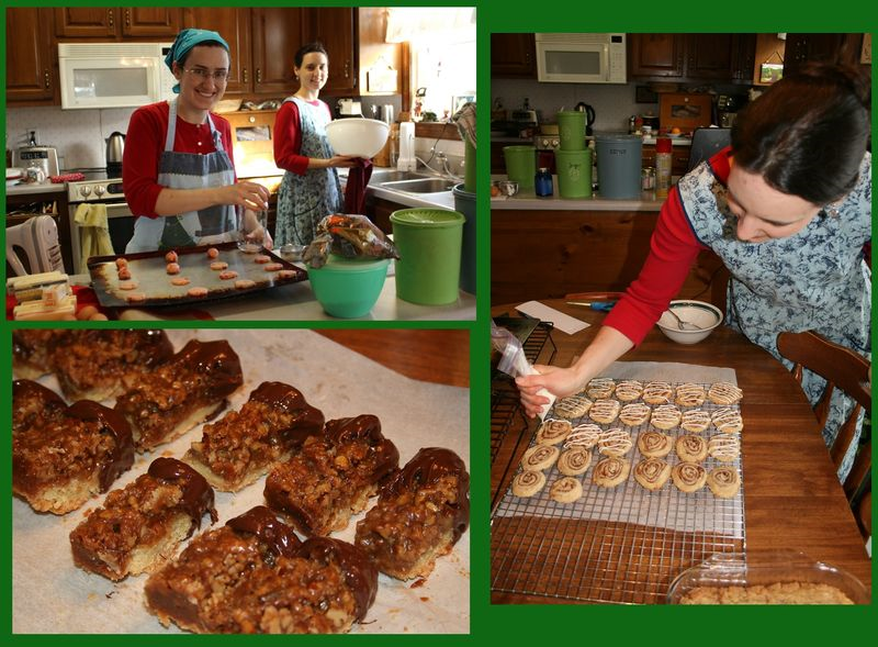 Cookies - White Chocolate Cherry Shortbreads, Chocolate-dipped Pecan Pie Bars, and Cinnamon Roll Cookies