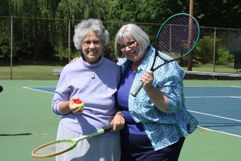 Deb and Bet ~ two oldsters trying to hit the ball!