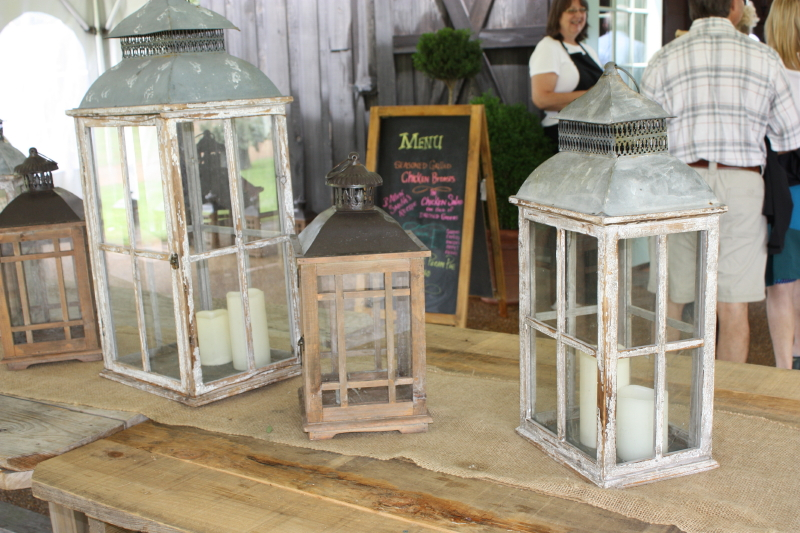 Display of antique lanterns outside the Barn