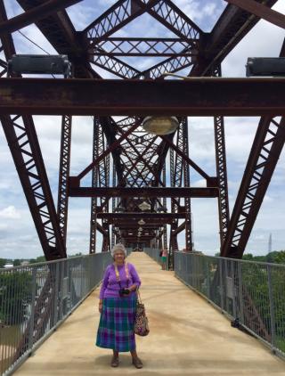 Deb on bridge