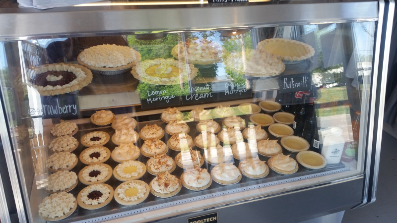 Pies in display case