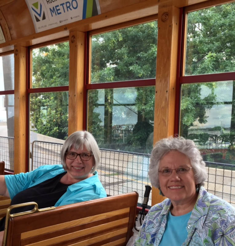 Deb and Bet on trolley in Little Rock
