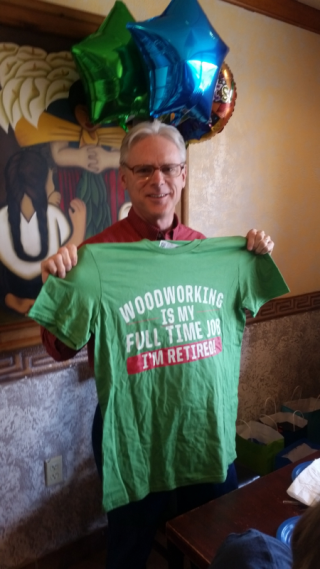 Tom woodworking retirement shirt