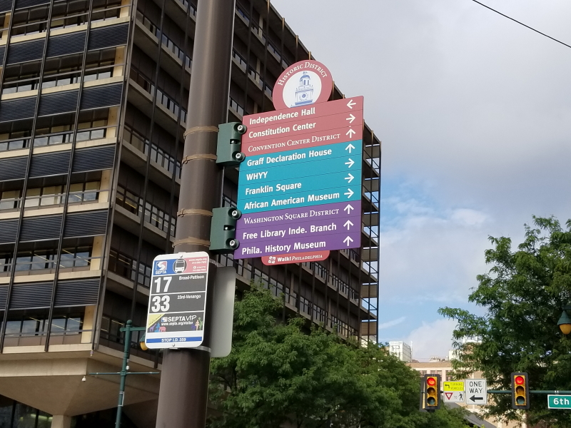 Historic District signs in downtown Philly