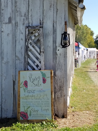 Barn sale entrance sign