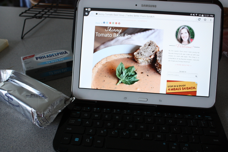using my new tablet to make a recipe
