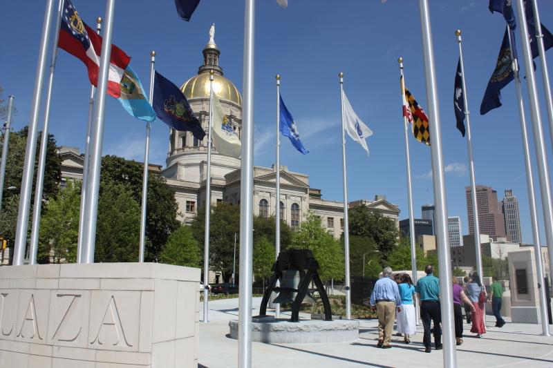 Walking through Liberty Plaza