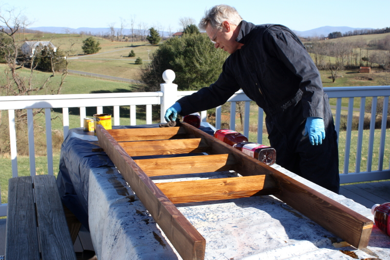 Staining a quilt ladder